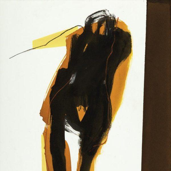 tableau abstrait silhouette noire sur fond blanc