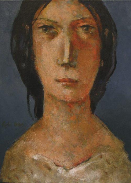 portrait de femme orange et bleu peinture contemporaine charles pasino