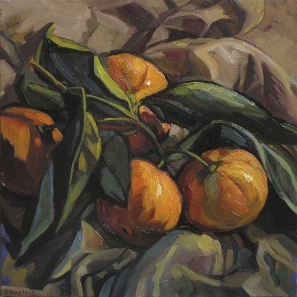 clémentines, nature morte, still life, peinture à l'huile contemporaine, hélène courtois-redouté