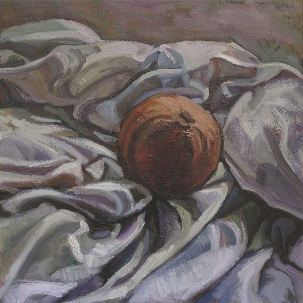 pomme sur drapé peinture à l'huile contemporaine, hélène courtois-redouté