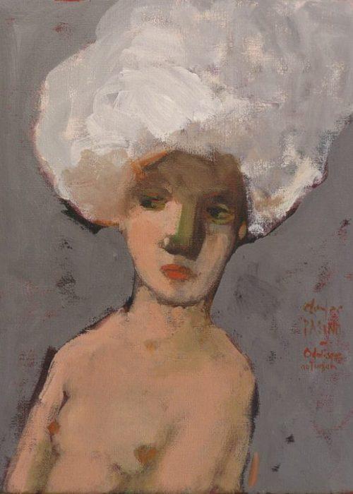 peinture contemporaine charles pasino, portrait, odalisque au turban
