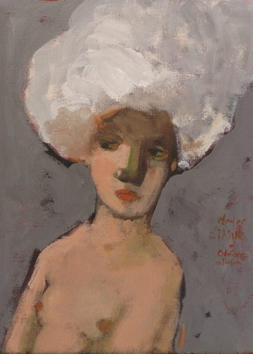 peinture contemporaine de charles pasino portrait odalisque au turban