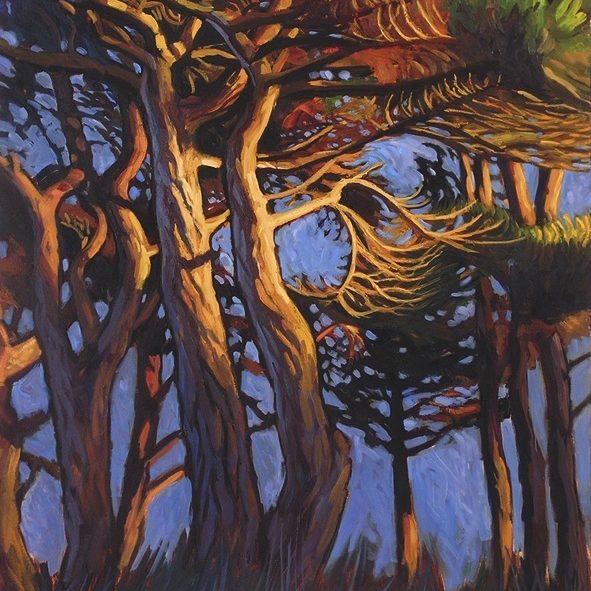 Pins le soir peinture bord de mer, peinture contemporaine, huile, hélène courtois-redouté