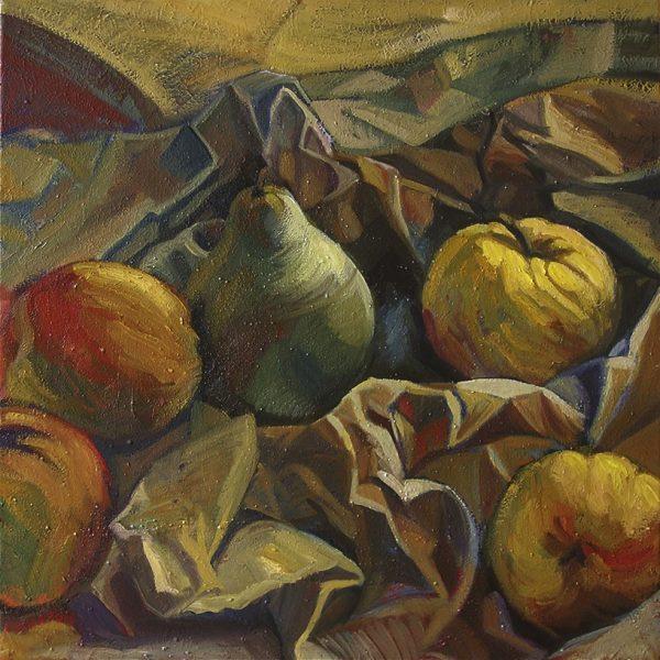 Poires et pommes sur papier froissé peinture à l'huile