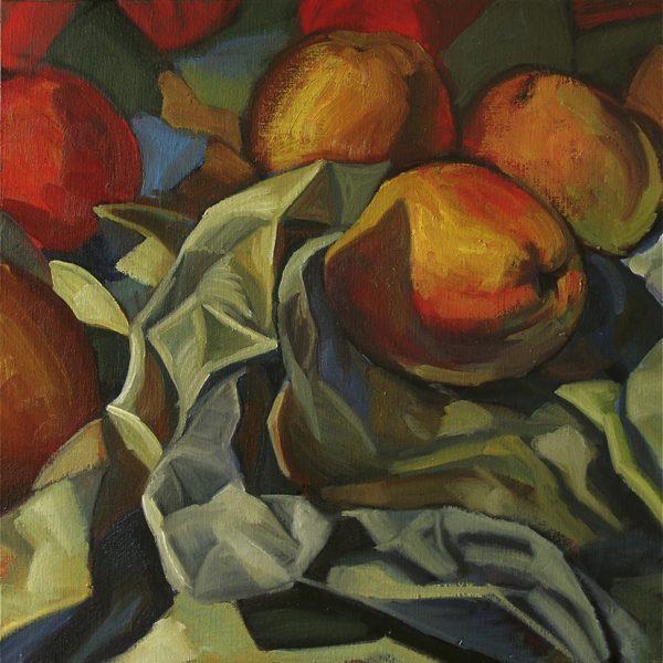 pommes et papier froissé, peinture à l'huile contemporaine, nature morte, hélène courtois-redouté