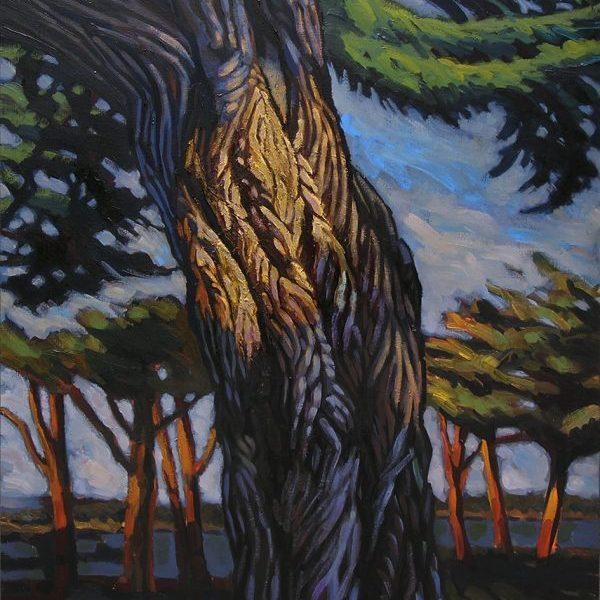 tronc arbre peinture contemporaine, hélène courtois-redouté