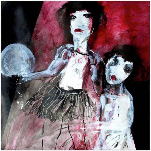 mère et fille peinture contemporaine sur fond rouge
