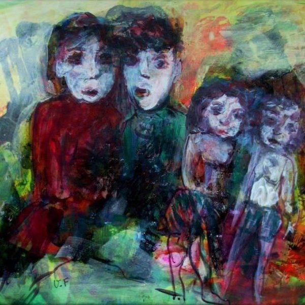 Famille mère et enfants, peinture contemporaine expressionniste de Victorine Follana