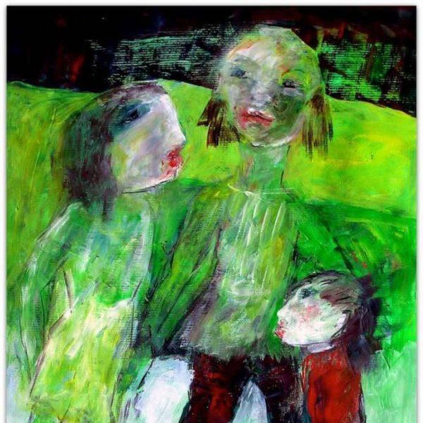 Peinture de famille mère et enfants sur fond vert