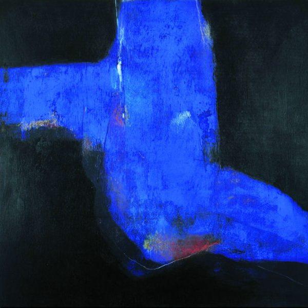 peinture contemporaine nu bleu sur fond noir