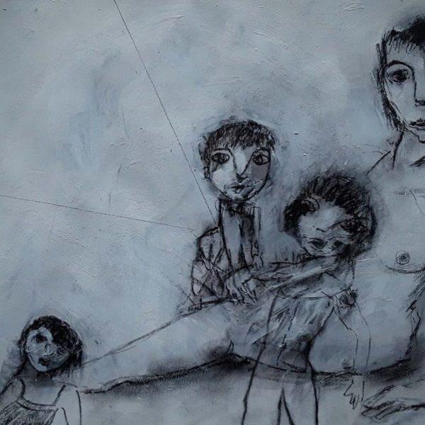 Fusain acrylique sur papier mère et enfants