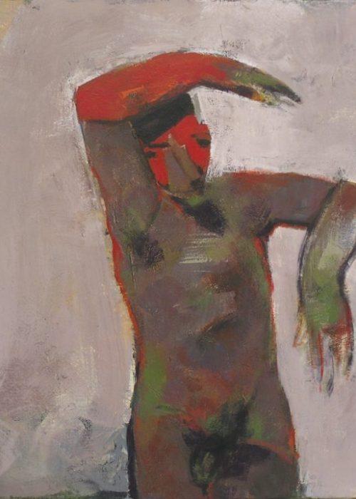 homme rouge acrylique peinture contemporaine de charles pasino