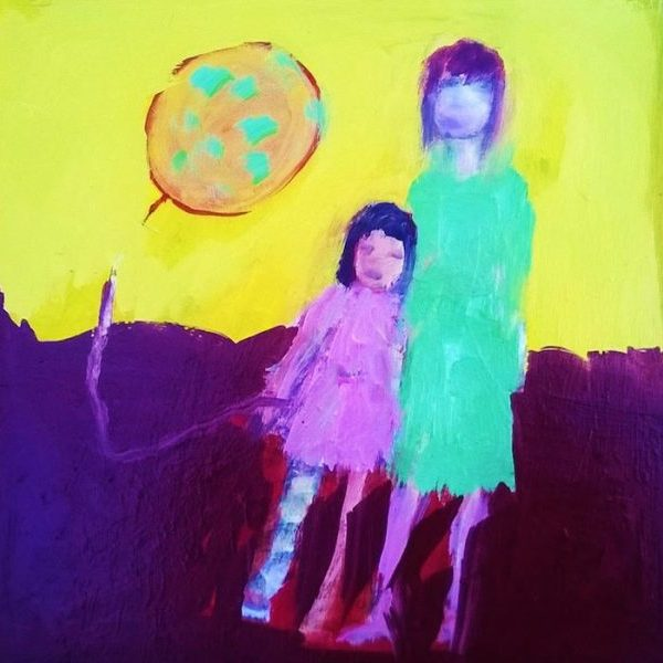 Huile sur bois peinture contemporaine, mère et fille