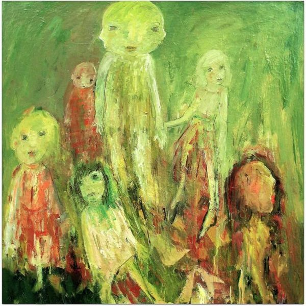 Famille peinture verte et orange