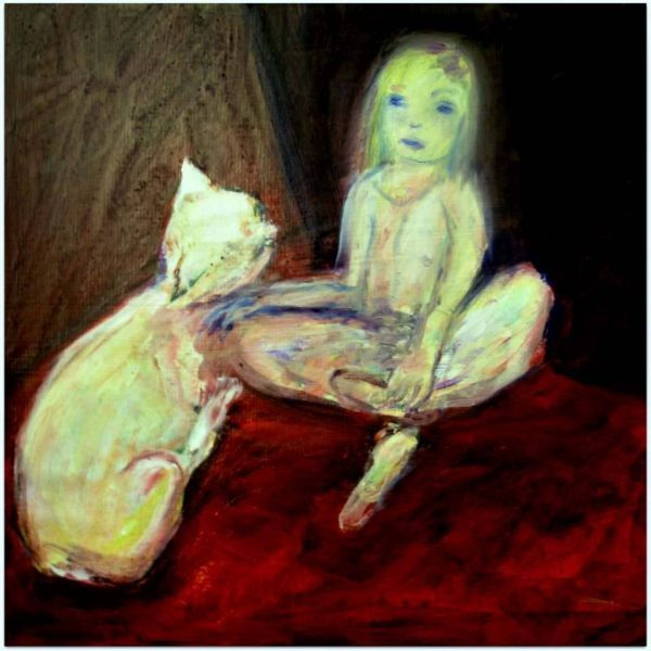 Fille et chat peinture contemporaine Follana