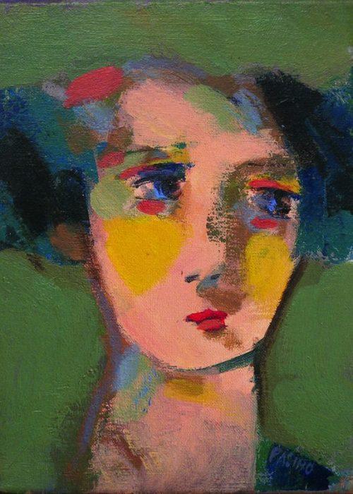 portrait de femme vert rose et jaune peinture contemporaine de charles pasino