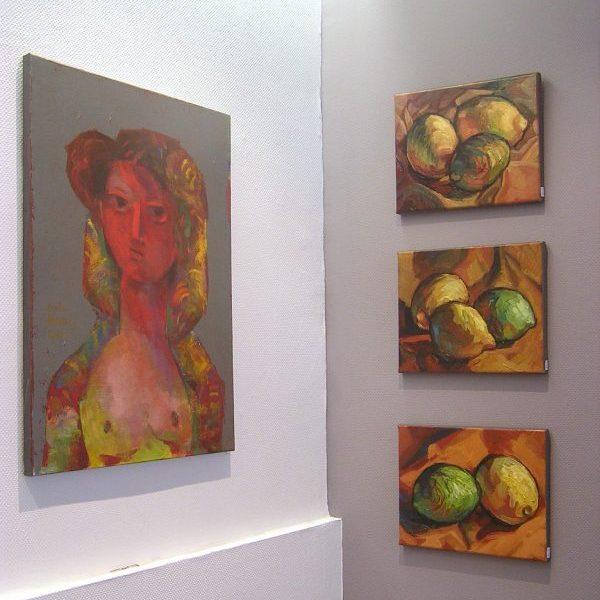 Huiles à la galerie Le Gisant à Dinan, citrons, peinture contemporaine