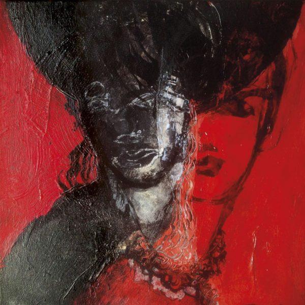 peinture portrait de femme sur fond rouge de Alain Gegout