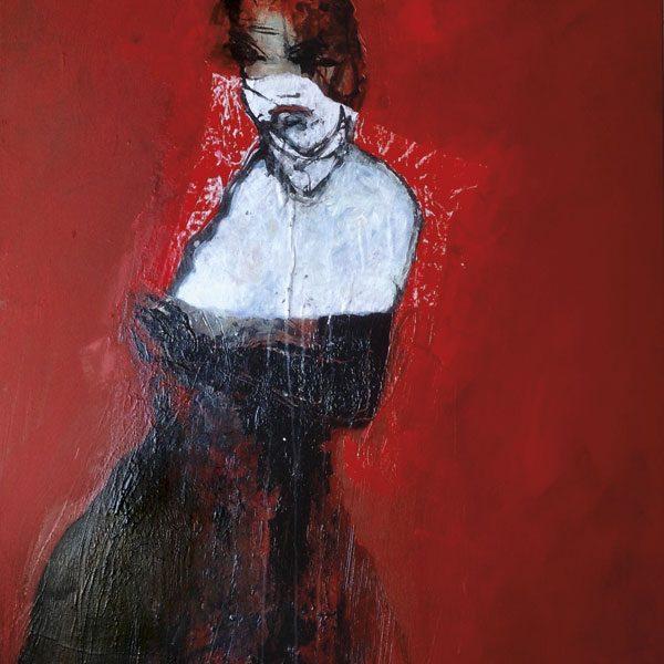 femme rouge peinture d'Alain Gegout