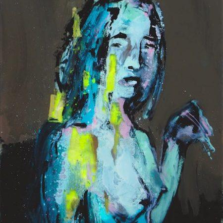 Chloe-en pause frédéric hego, fixé sous verre, galerie le gisant, dinan