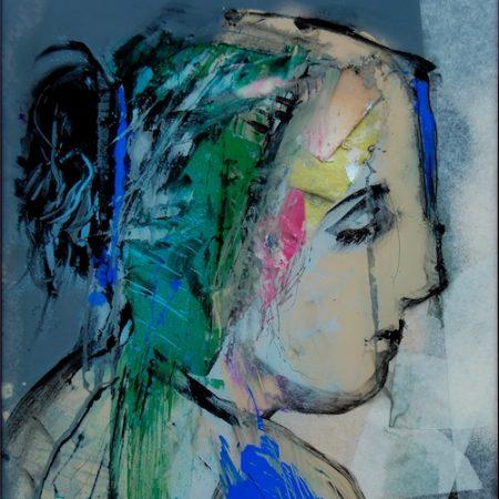 fixé sous verre Odalisque portrait de femme gris et bleu