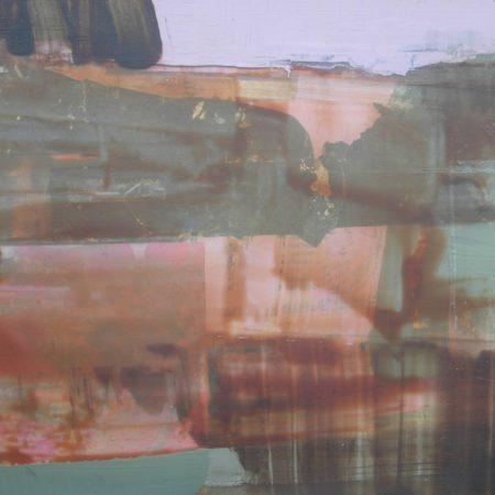 peinture abstraite rose et gris-vert