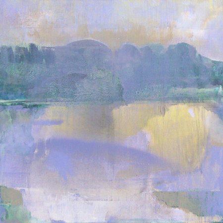 peinture de lac de montagne mauve
