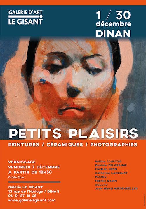 affiche petits plaisirs à la galerie le gisant en décembre 2018. Peinture portrait de femme sur fond bleu sombre et orange.