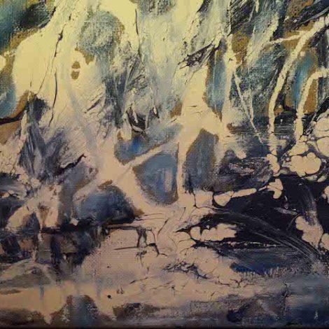 photographie abstraite giclées blanches sur fond bleu