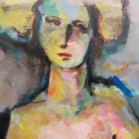 portrait personnage coloré sur fond gris