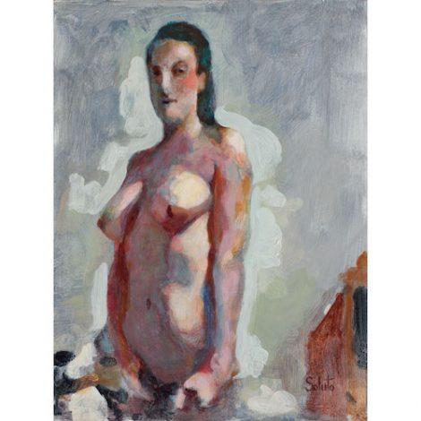 femme nue debout statique colorée sur fond gris