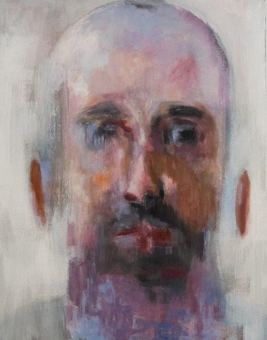 portrait homme barbu et coloré sur fond blanc