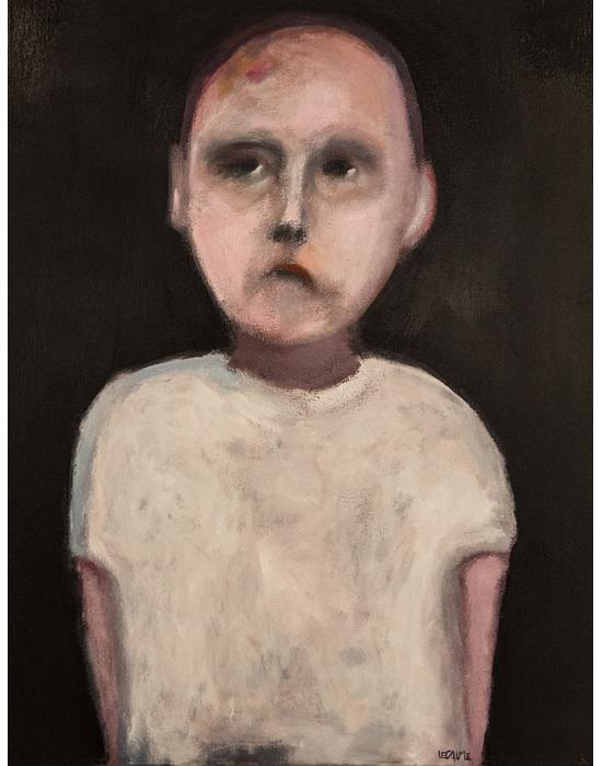 enfant noir et blanc peinture de frédéric lecaime à la galerie le gisant