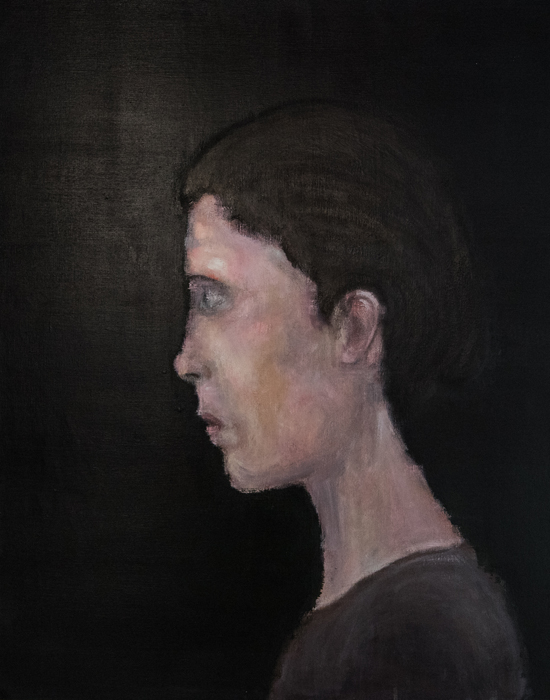 femme de profil sur fond gris sombre, peinture contemporaine de frédéric lecaime