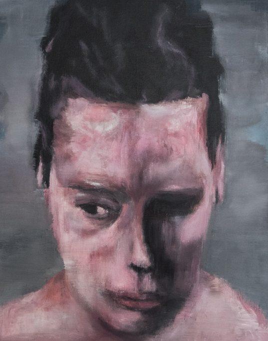 peinture contemporaine portrait d'un enfant avec la tête baissée