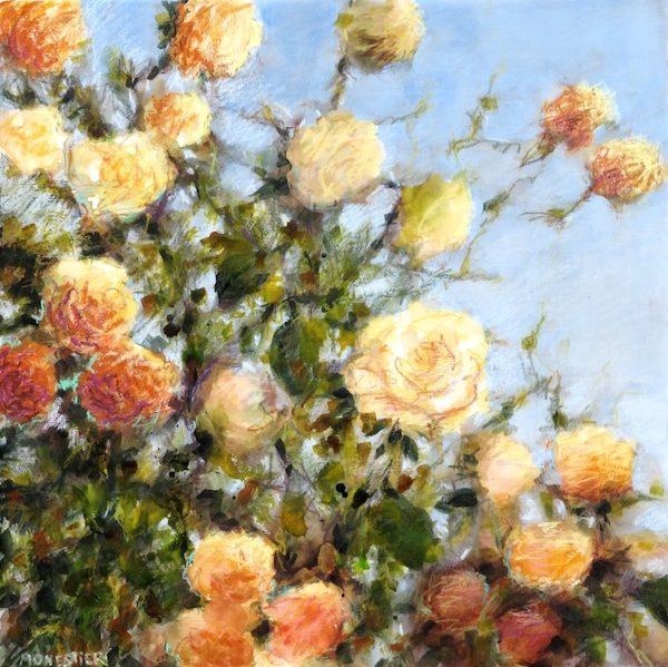 jardin et roses jaunes de fabienne monestier peinture art contemporain