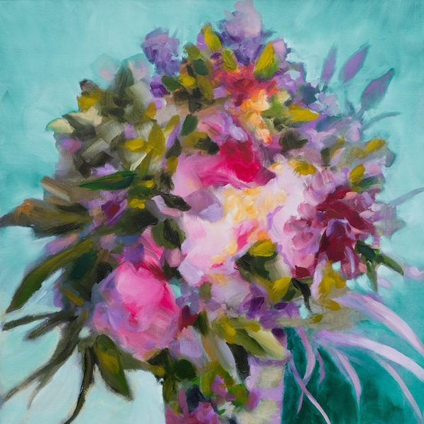 bouquet de fleurs roses peinture contemporaine