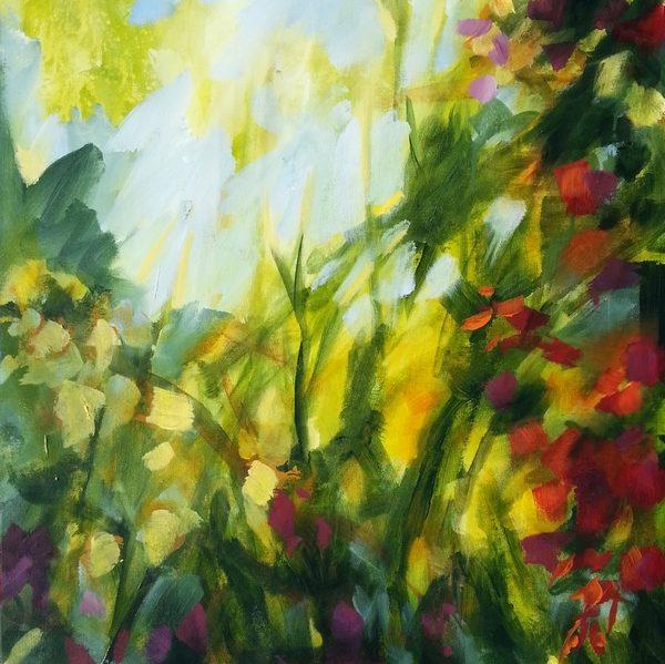 peinture de jardin fleurs et lumière d'automne