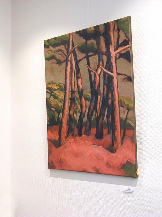 prairie et arbres roses. peinture contemporaine d'hélène courtois-redouté