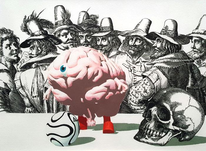 gravure noir et blanc et cerveau rose