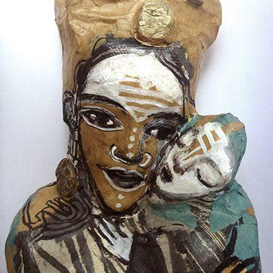 poupée papier mère et enfant, de marie-sophie andré, galerie le gisant à dinan