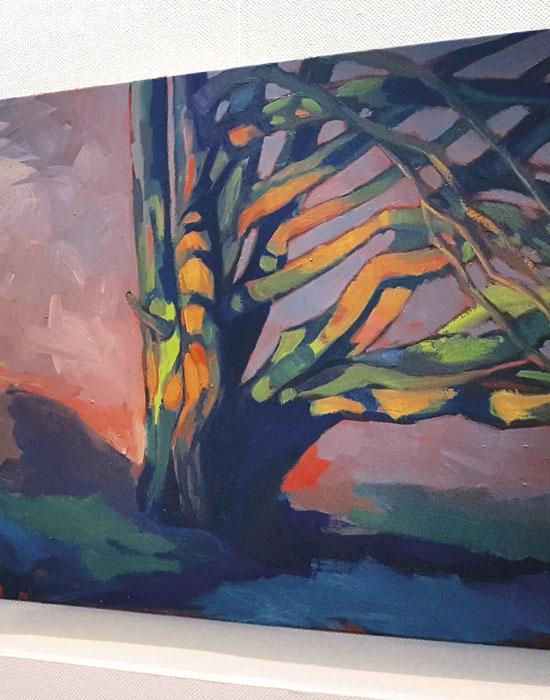 peinture contemporaine arbre coloré