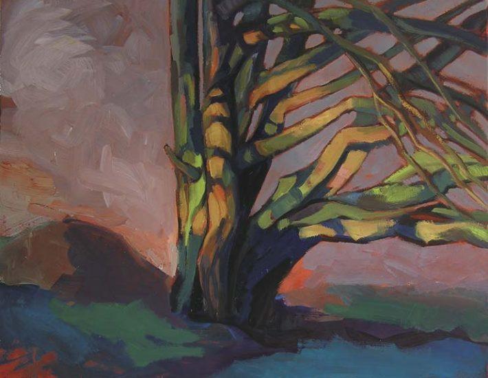 peinture moderne arbre coloré sur fond gris galerie d'art le gisant