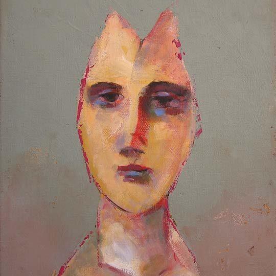 portrait rose fond gris