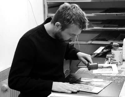 artiste-peintre Christophe Forget dans son atelier
