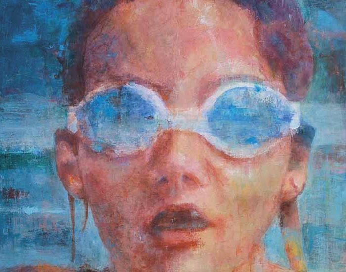 peinture de sandra d'angeli, fillette dans l'eau