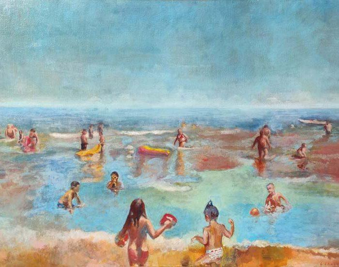 peinture plage et mer