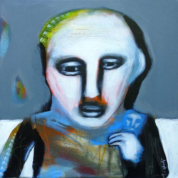 peinture portrait bleu de Christophe Forget