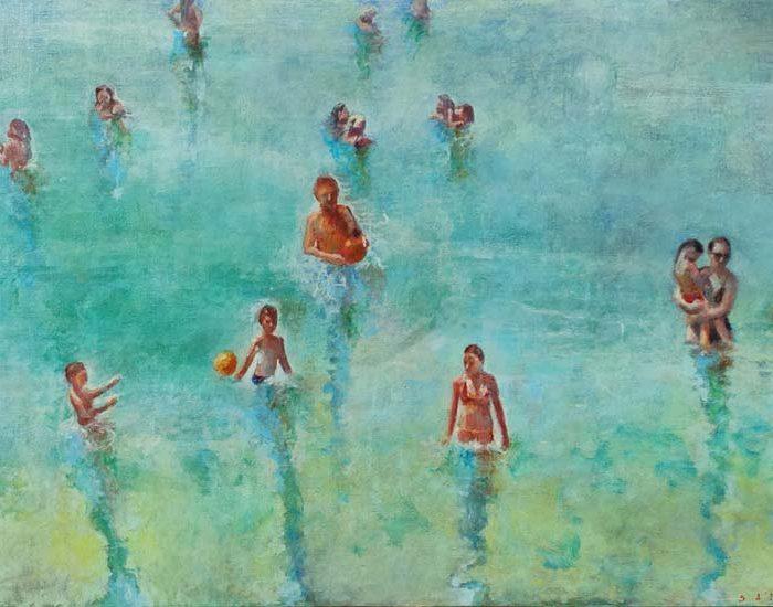 peinture de sandra d'angeli, mer avec nageurs