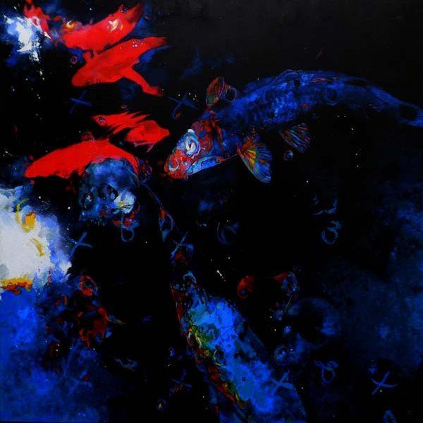 peinture poisson fond sombre